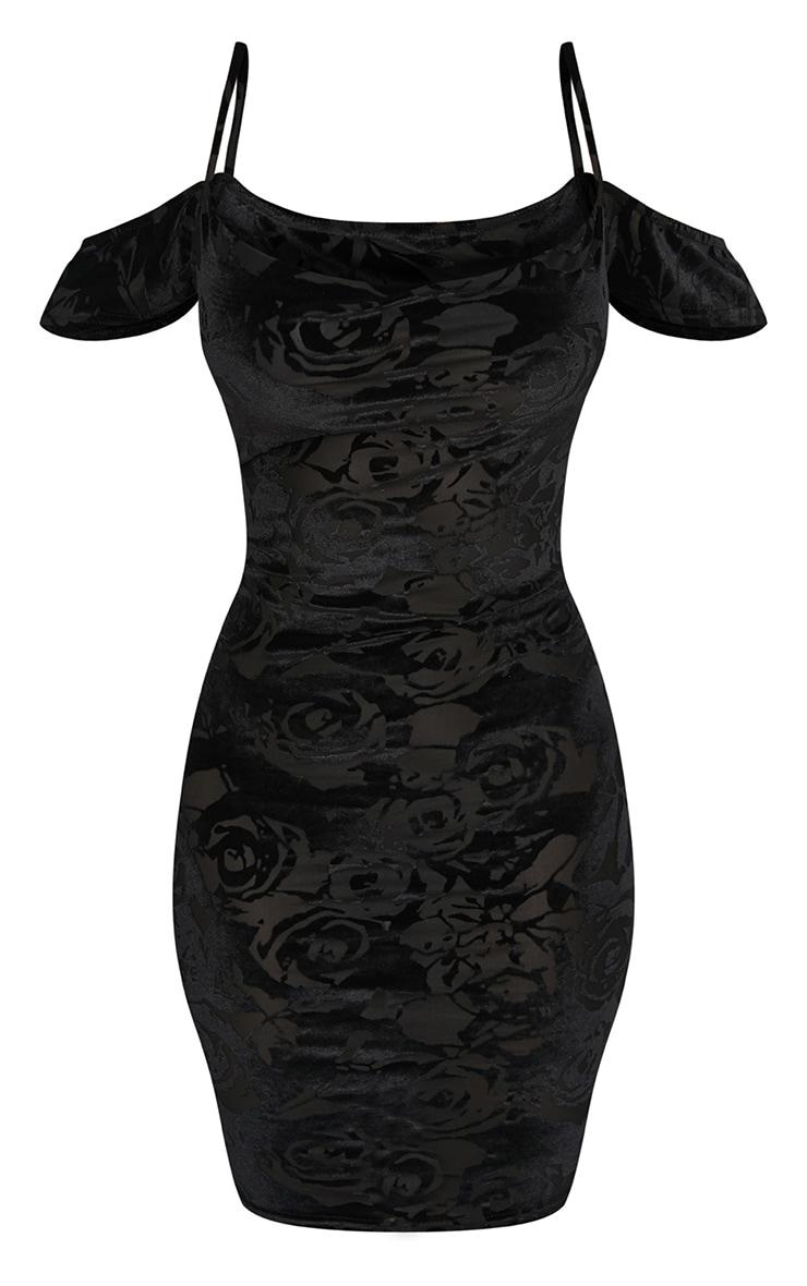 Black Flocked Cowl Arm Detail Bodycon Dress 3