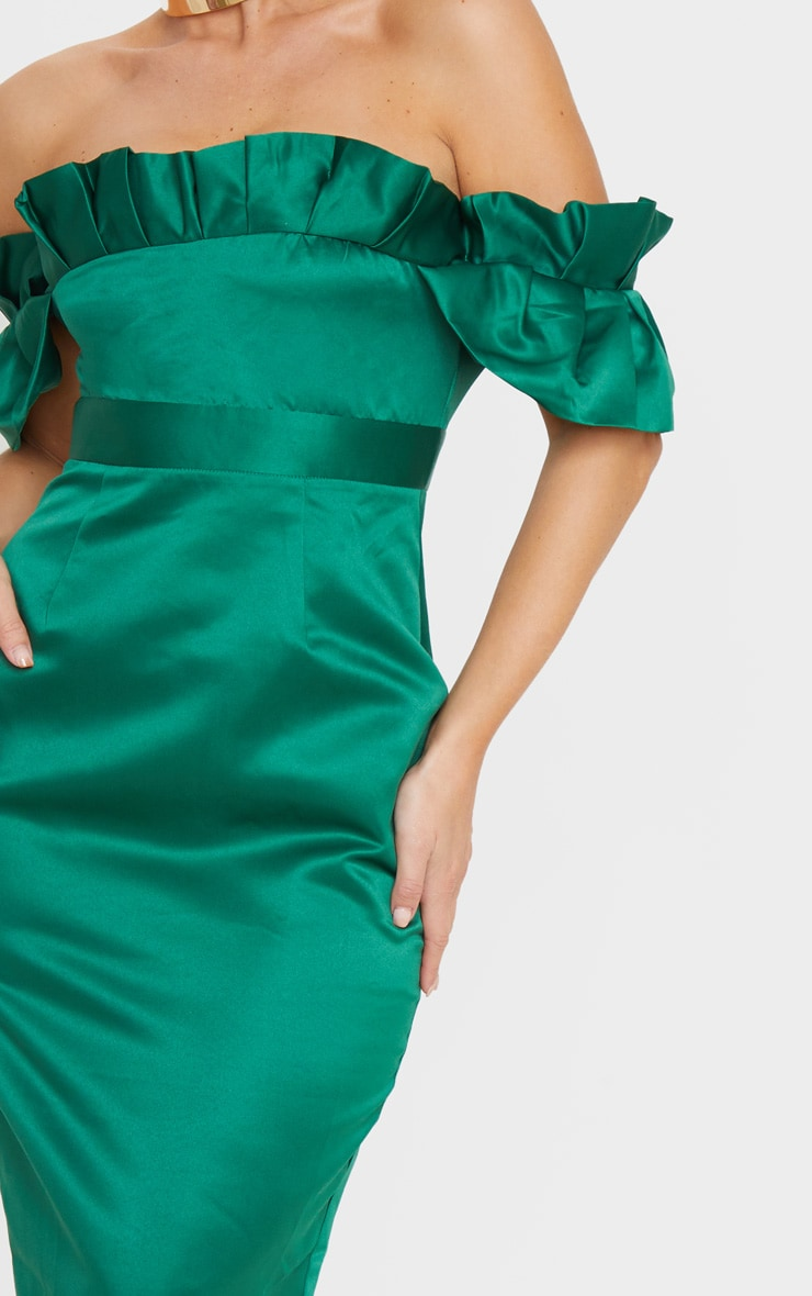 Emerald Green Bonded Satin Bardot Pleated Detail Midi Dress 5