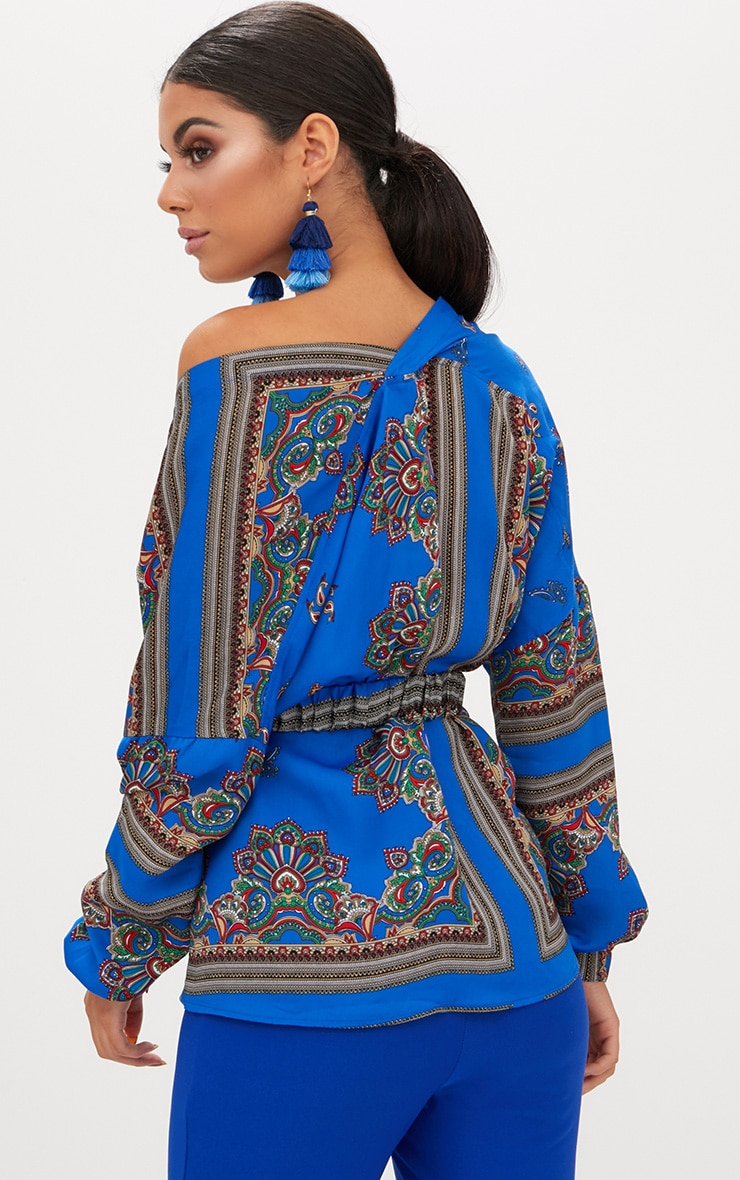Blue Scarf Print Multi Way Belted Blouse 2