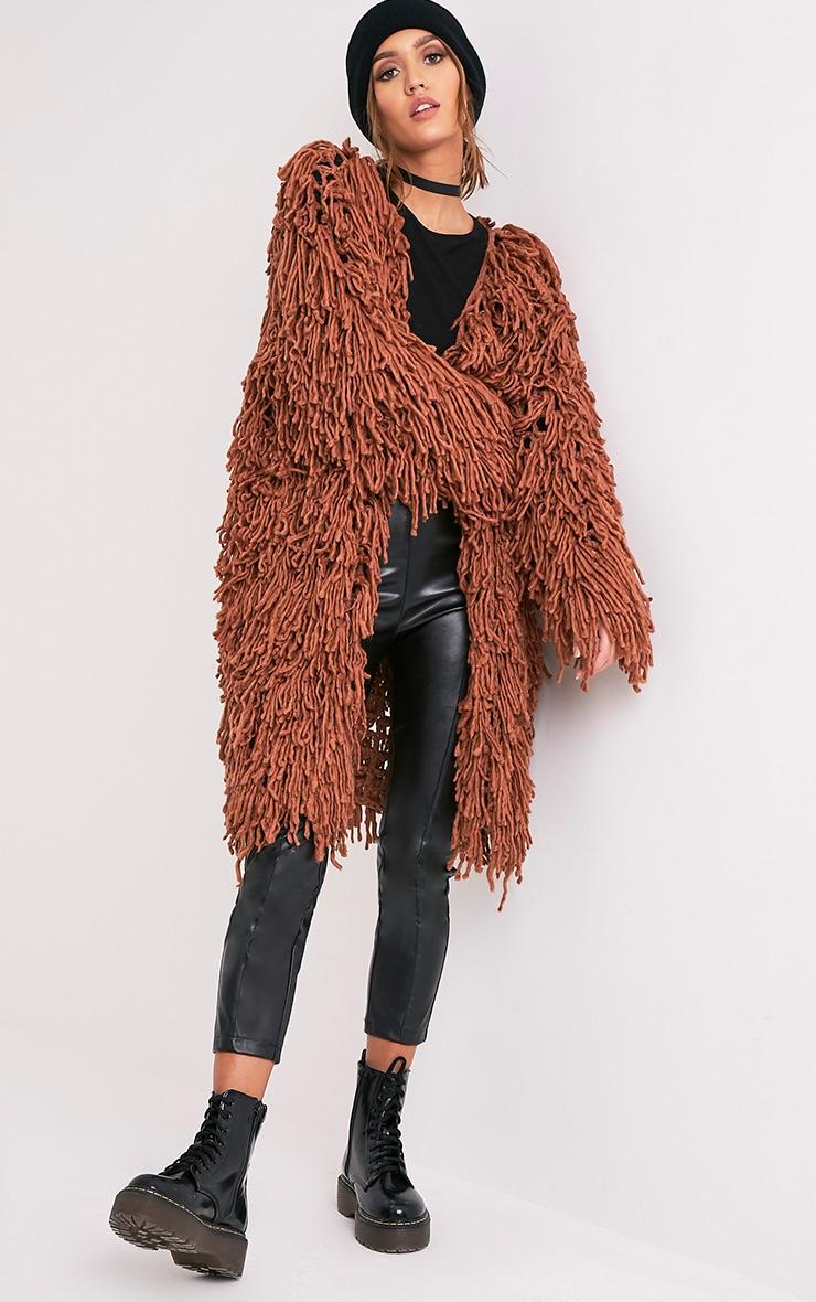 Aslina Cinnamon Shaggy Knit 3/4 Length Cardigan 1