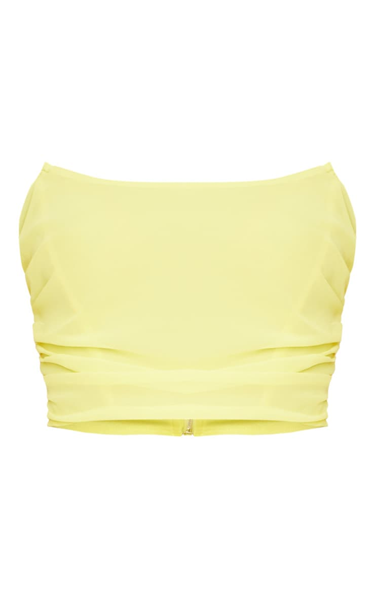 Yellow Woven Structured Curved Crop Top 5