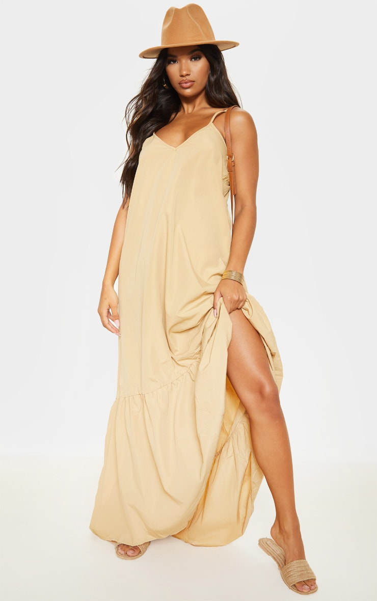 Camel Low Back Ruffle Hem Maxi Dress 1