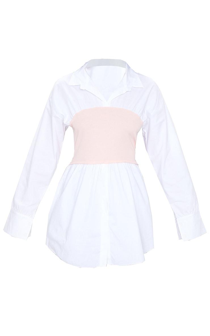 Nude Rib Bust Panel White Puff Sleeve Shirt 5