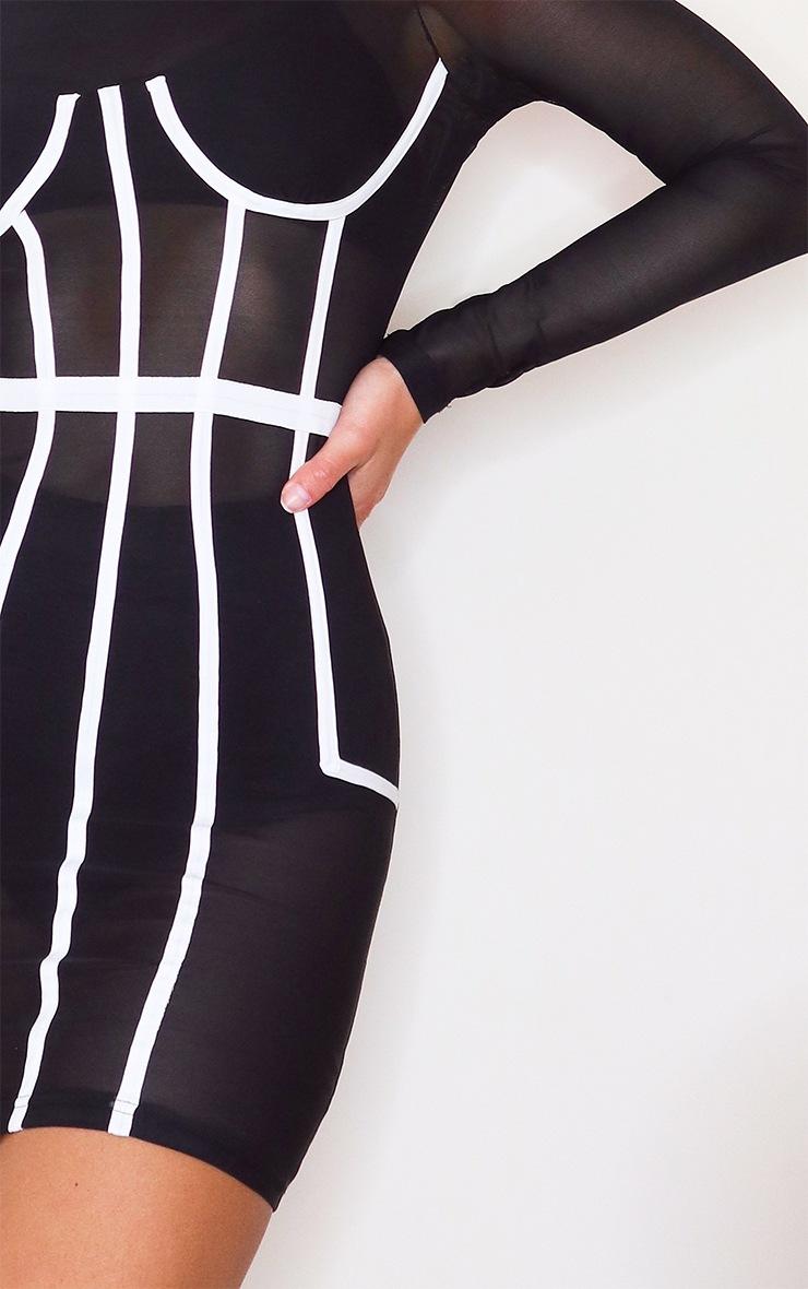 Black Mesh Corset Binding Detail Long Sleeve Bodycon Dress 4