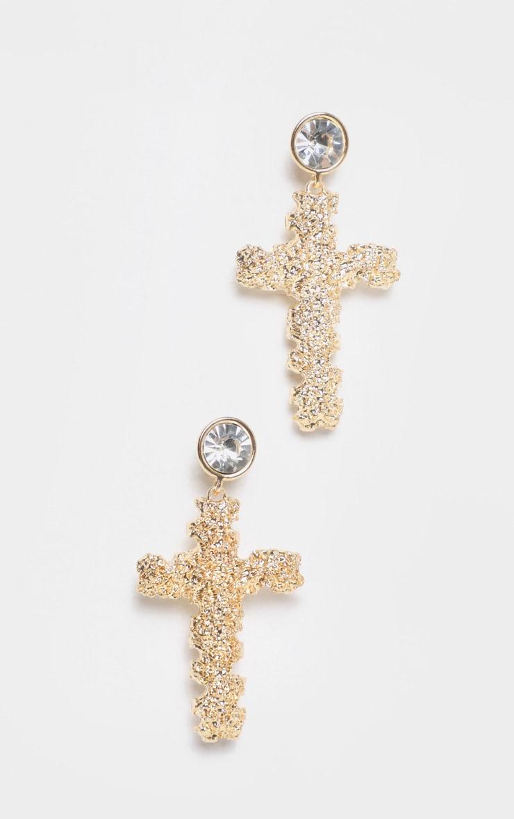Gold Textured Cross Diamante Stud Drop Earrings 2