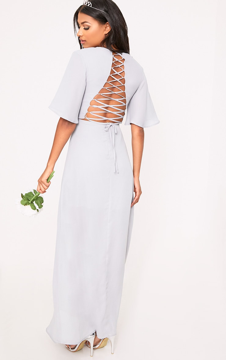 Lucilla Ice Grey Lace Up Detail Maxi Dress 2