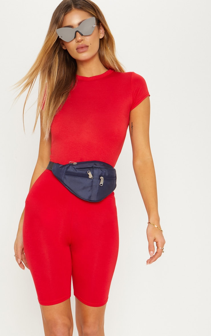 Red Basic Crew Neck Fitted T Shirt 2