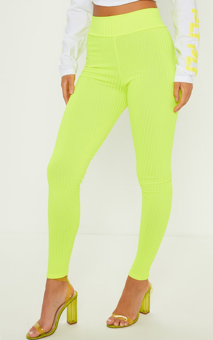 Neon Yellow Ribbed High Waisted Legging 2