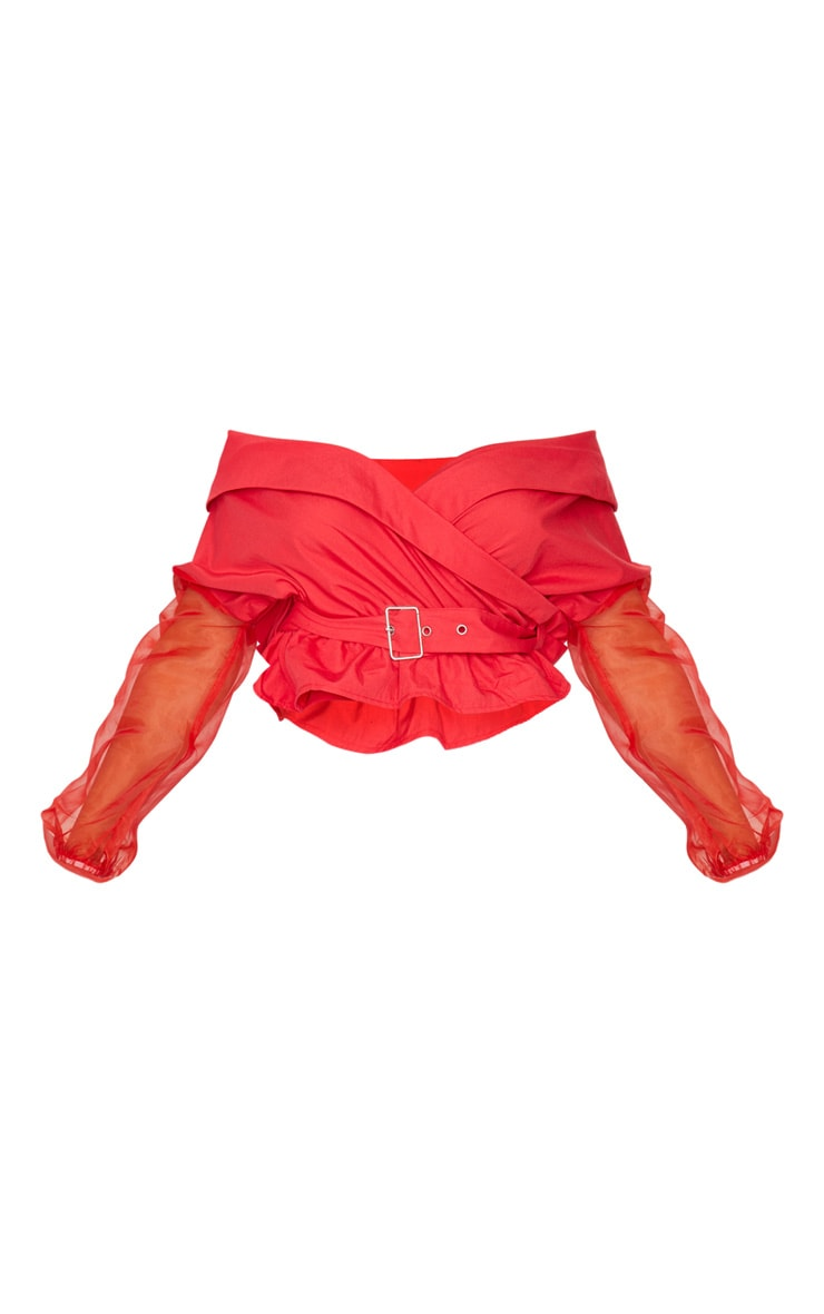 Red Bardot Organza Sleeve Crop Top 5
