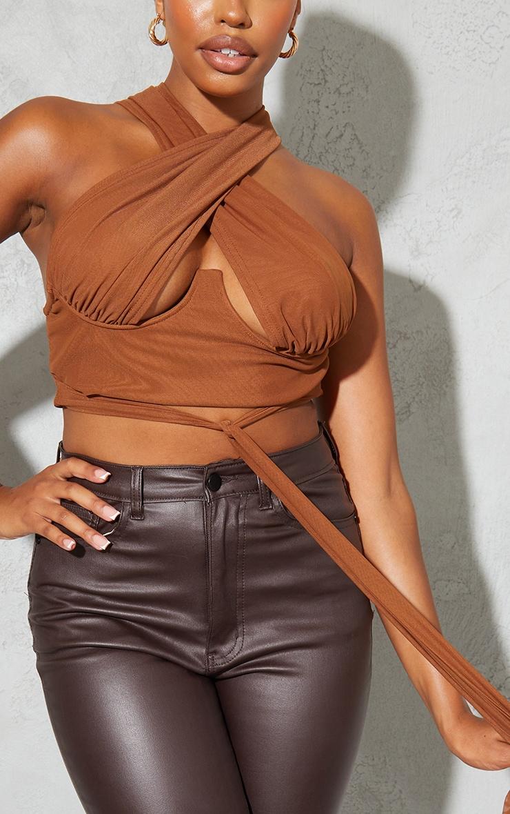 Chocolate Chiffon Underbust Tie Detail Cross Over Crop Top 4