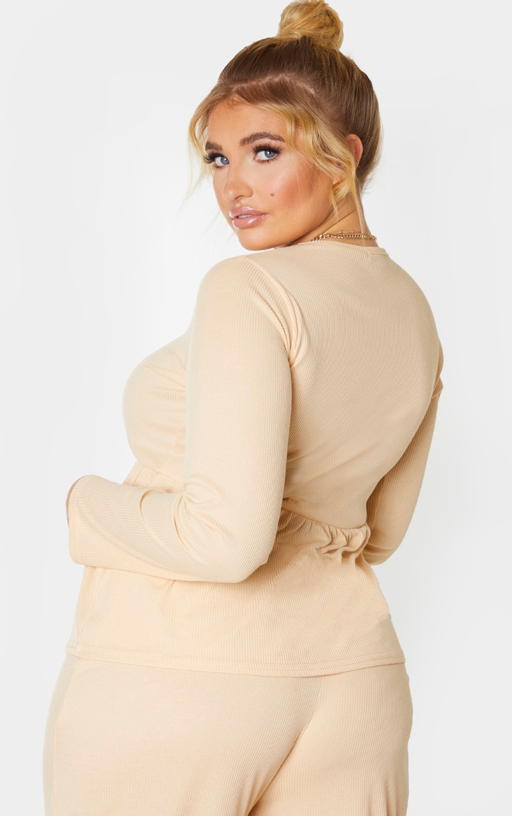 Plus Stone Ribbed Long Sleeve Smock Top 2