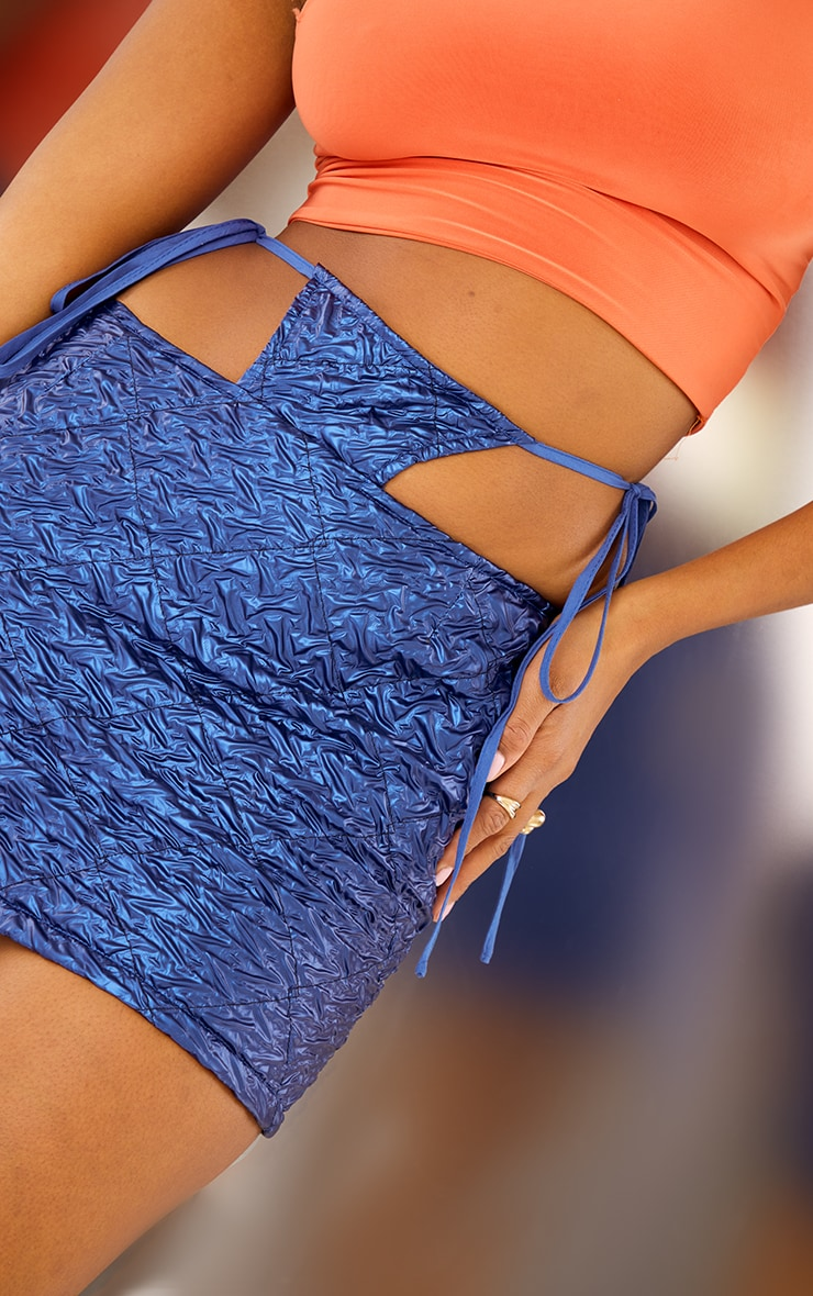 Blue Faux Leather Textured Thong Tie Detail Mini Skirt 5
