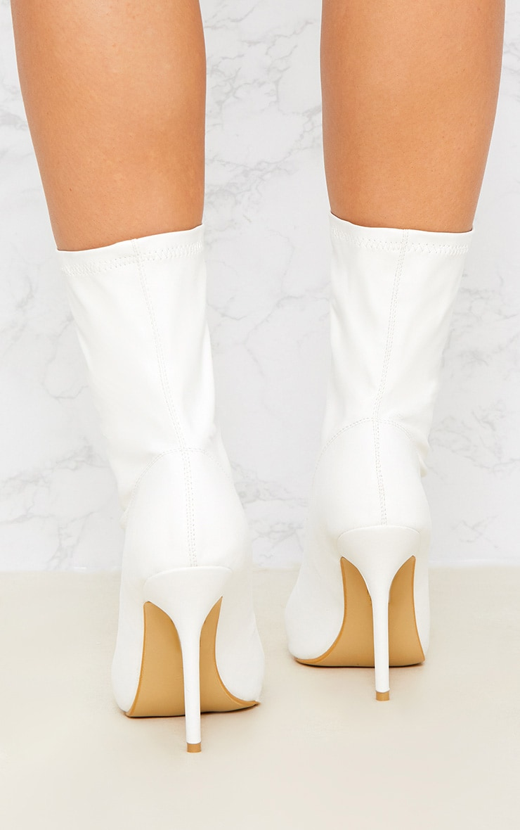 White Zip Front Lycra Sock Boot 4