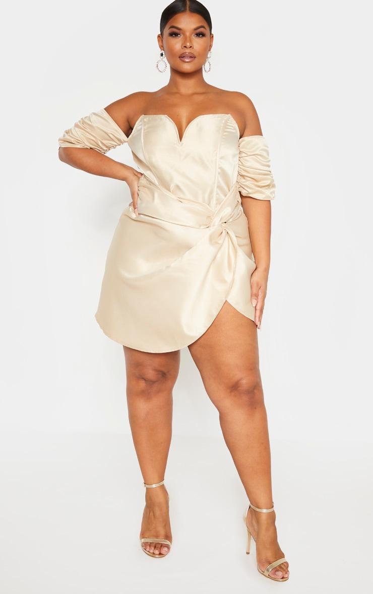 Plus Champagne Satin V Bar Wrap Bodycon Dress 4