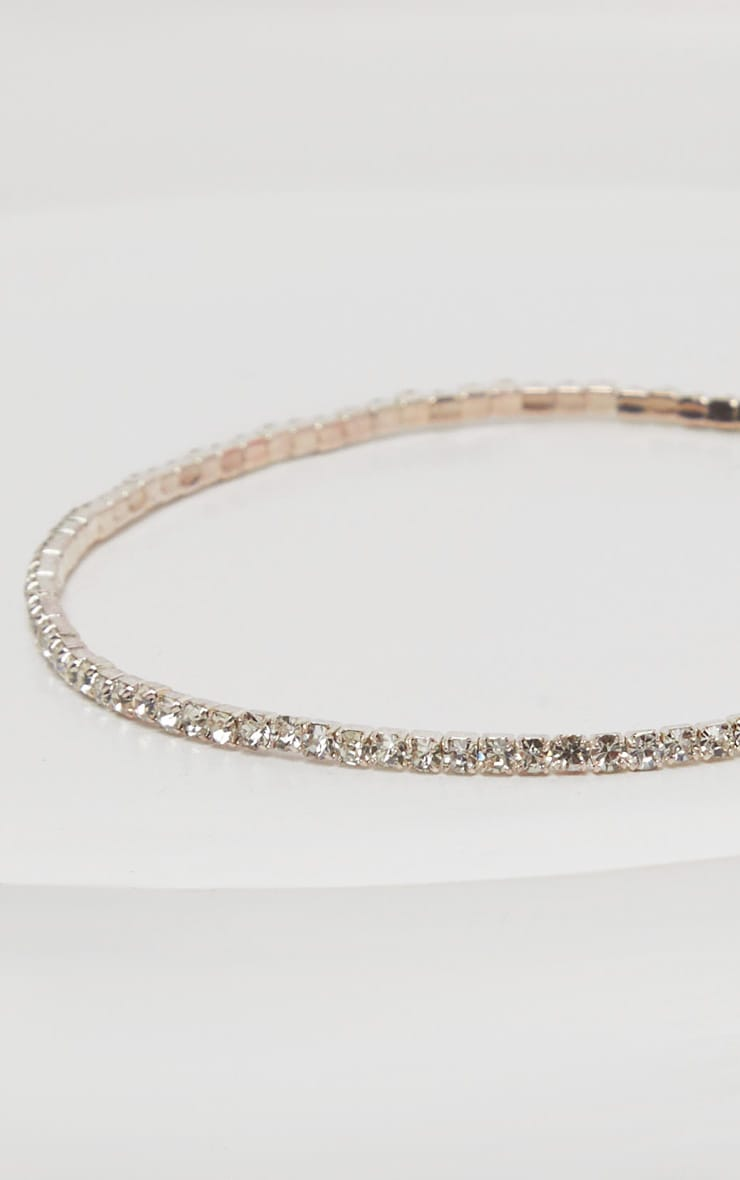 Silver Diamante Simple Anklet 2