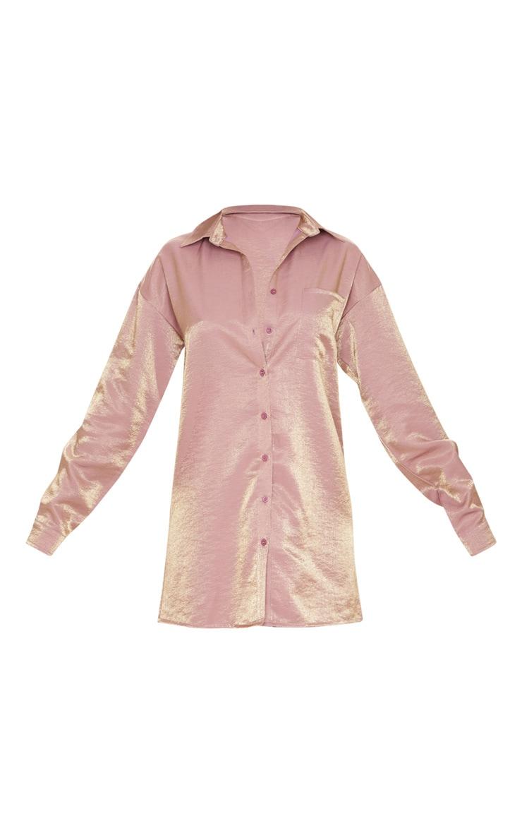 Dusty Pink Metallic Shirt Dress 3