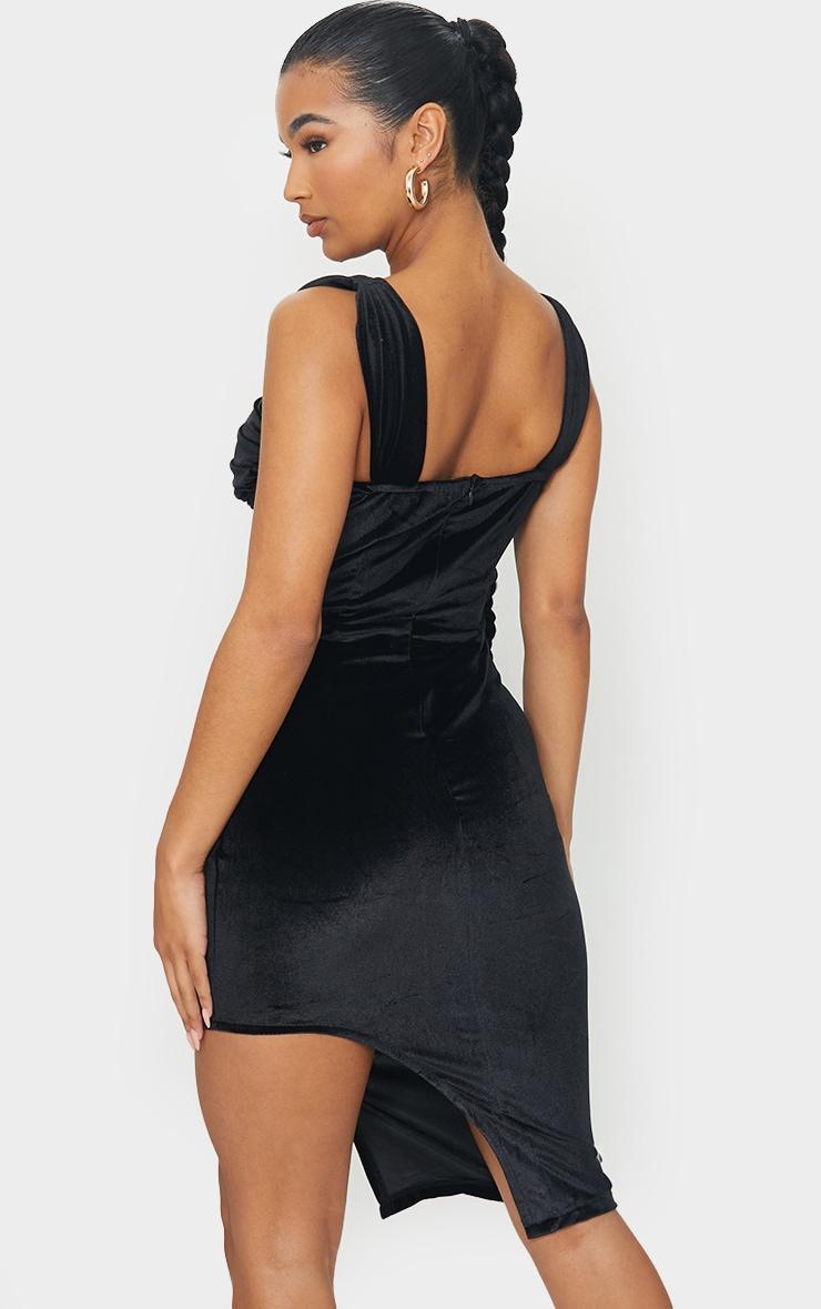 Black Velvet Ruched Binded Cup Detail Midi Dress 2