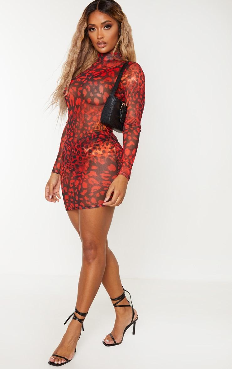Shape Red Leopard Print Sheer Mesh High Neck Bodycon Dress 3