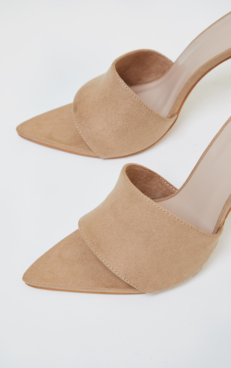 Sand Faux Suede Strap Point Toe High Heels 4