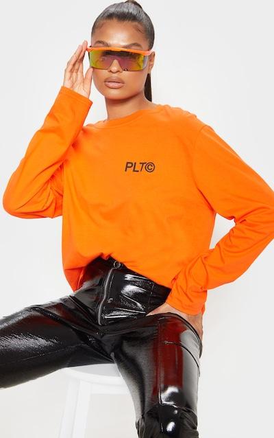 PRETTYLITTLETHING Orange Official Slogan Long Sleeve T Shirt