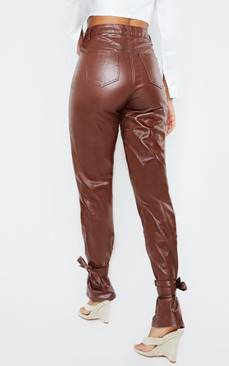 Chocolate Tied Hem Coated Straight leg Jean 3
