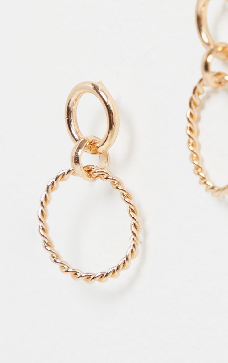Gold Mini Twist Ring Double Drop Earrings 3