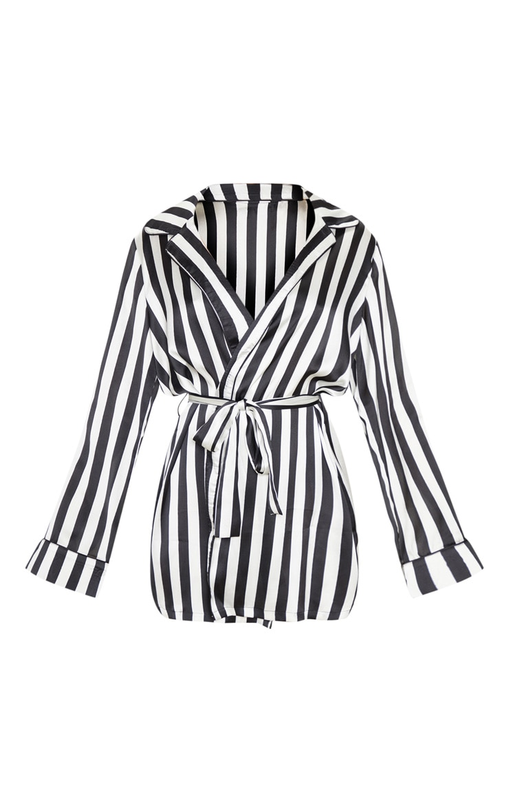 Black And White Satin Piped Robe 3