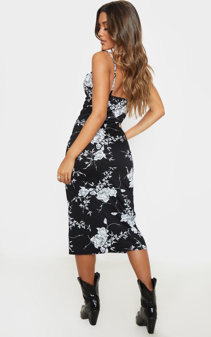 Black Leaf Print Cowl Midi Dress 2