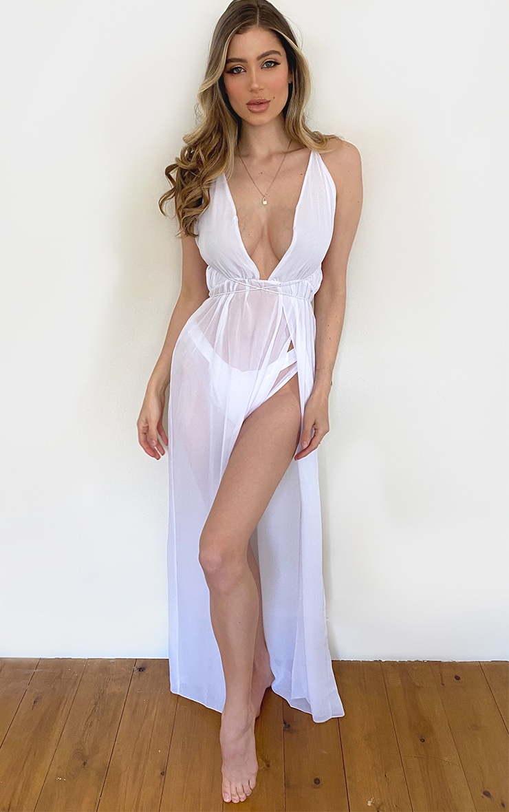 White Chiffon Plunge Beach Dress 1