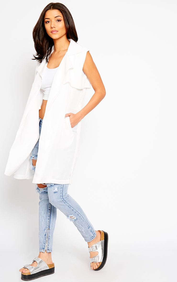 Alena White Chiffon Sleeveless Jacket 1