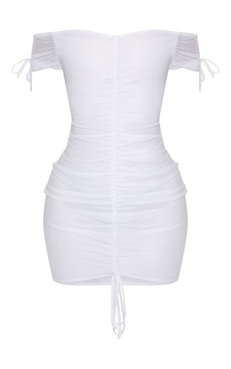 Shape White Ruched Mesh Bardot Bodycon Dress 3