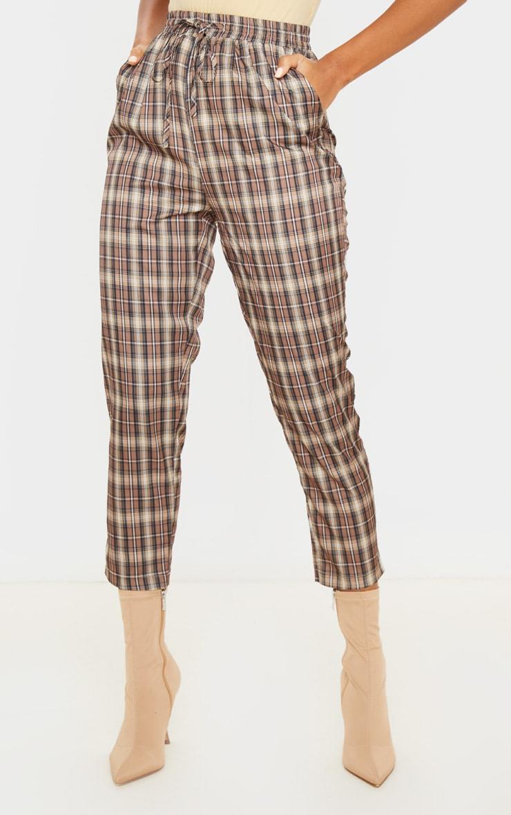 Brown Check Casual Pants 2