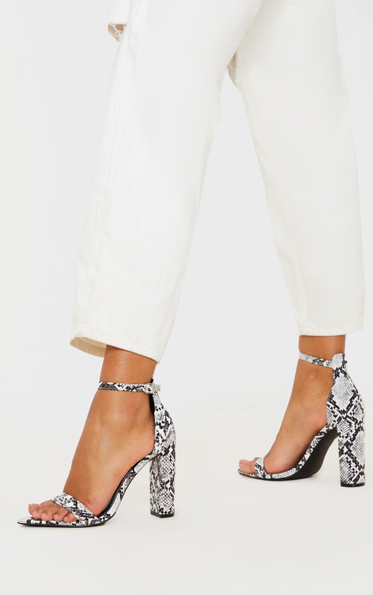 Grey Snake Point Toe Block Heel Sandal 1