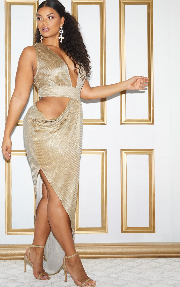 Plus Gold Glitter Asymmetric Cut Out Maxi Dress 3