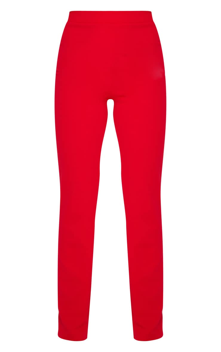 Red Straight Leg Suit Pants 5