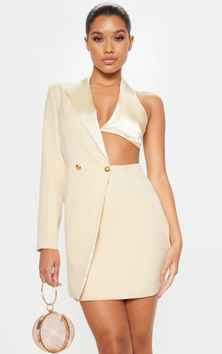 Stone One Shoulder Satin Detail Gold Button Blazer Dress image 1