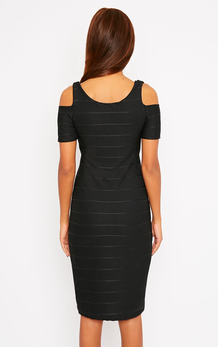 Bea Black Cold Shoulder Bandage Dress 2