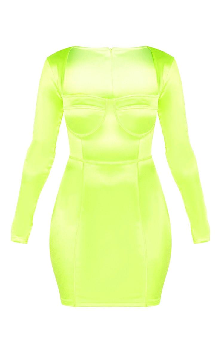 Neon Lime Satin Cup Detail Bodycon Dress 3