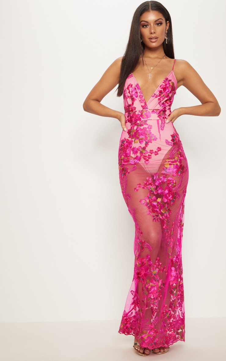 Fuchsia  Embroidered Lace Maxi Dress  2
