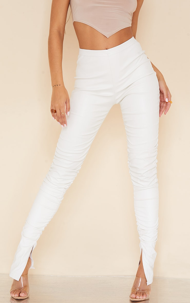Cream Faux Leather Ruched Leg Split Hem Leggings 2