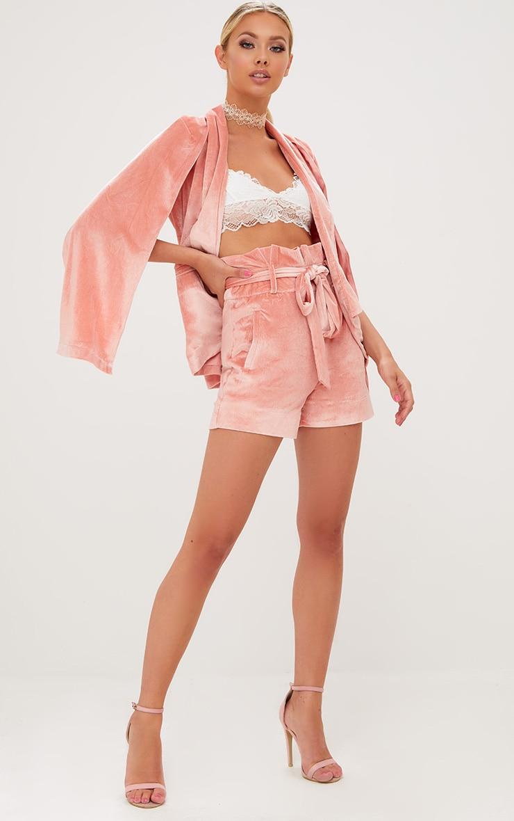 Pink Velvet Paperbag Shorts 5