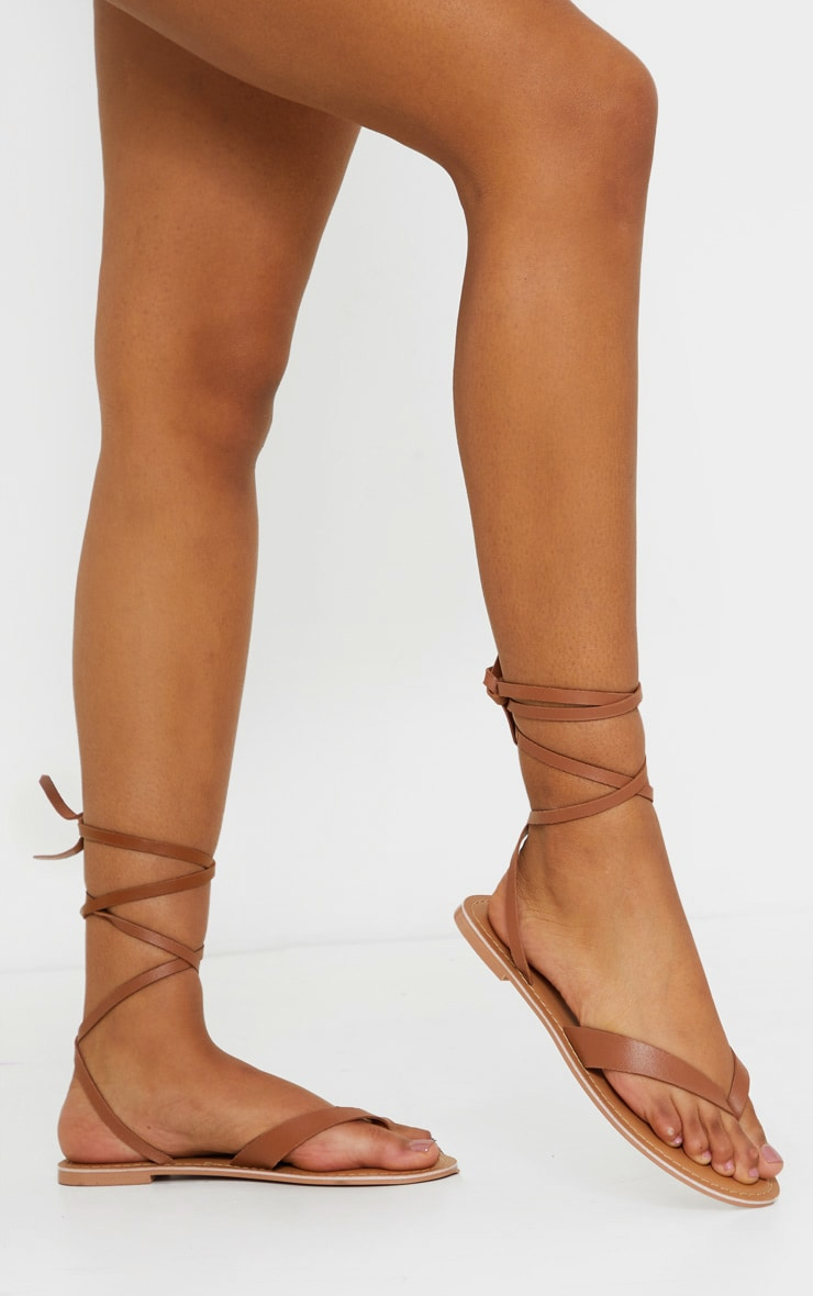 Tan Toe Thong Ankle Tie Strappy Sandals 2