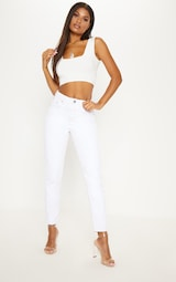 White Second Skin Slinky Square Neck Crop Top 4