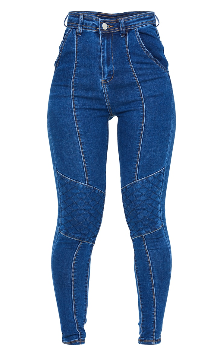 Dark Blue Wash Denim Biker Jeans 5
