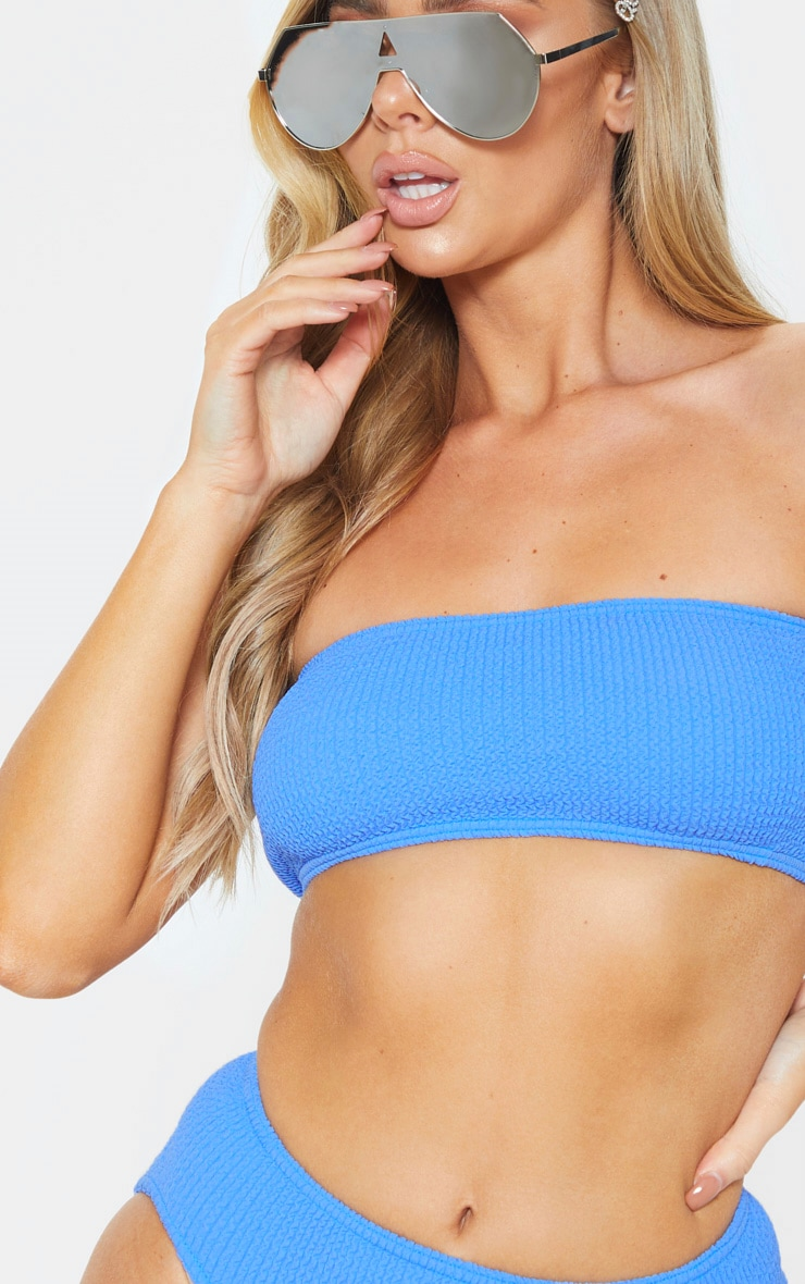 Blue Crinkle Bandeau Bikini Top 6