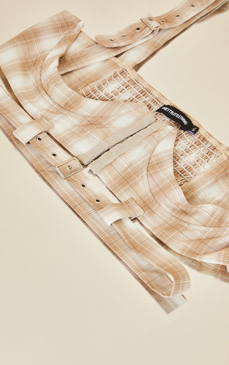 Cream Check Cut Out Corset Belt 3