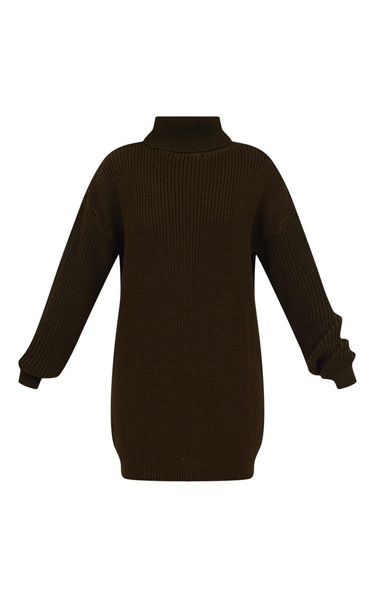 Khaki Roll Neck Jumper Dress 3
