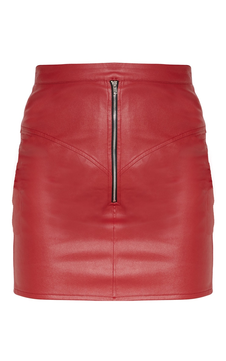 Petite Red Zip Detail Faux Leather Skirt 3