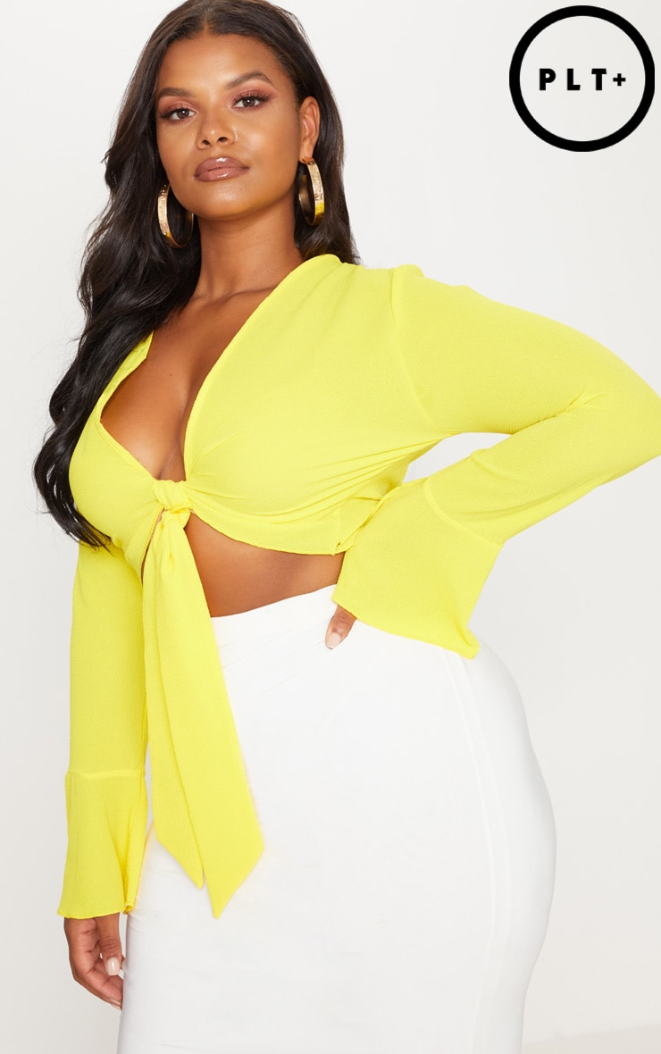 Plus Bright Yellow Tie Front Frill Sleeve Blouse