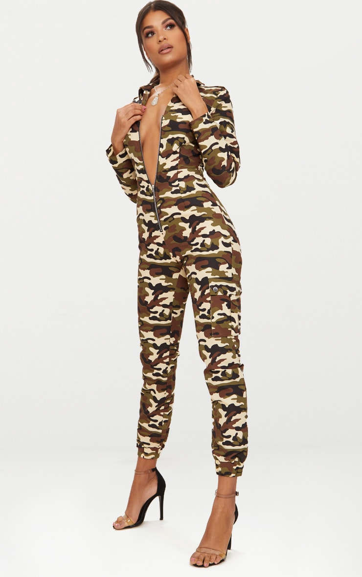 Camo Zip Through Utility Jumpsuit 4
